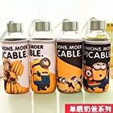 Satyam Kraft Minion Glass Water Bottle With Cover -400 Ml (design May Vary) One (1) Pcs
