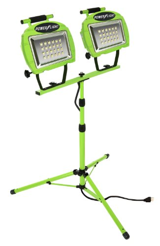 Designers Edge L1322 Eco-Zone 48-LED Twin Head High Intensity Indoor/Outdoor Work Light with Telescoping Tripod, 5-Feet Cord