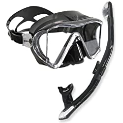 Scuba Snorkeling Panoramic Side-view Dive Mask with Dry Snorkel Set, All Black