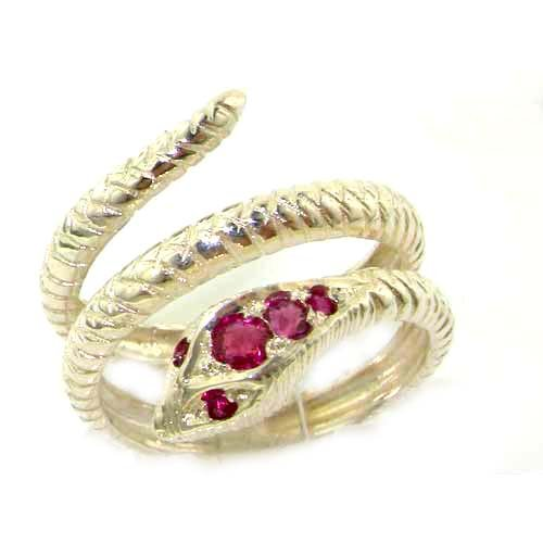 Fabulous Solid White Gold Natural Ruby Detailed Snake Ring - Size 9.25 - Finger Sizes 5 to 12 Available