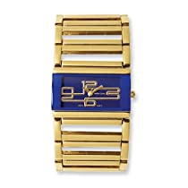Ladies Simon Chang Gold IP-plated Blue Dial 34x22mm Watch