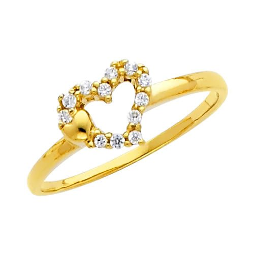 14K Yellow Gold Heart Solitaire CZ Cubic Zirconia Promise Ring Band - Size 4.5