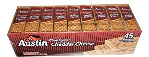 Austin Wheat Crackers with Cheddar Cheese Forty-Five individually wrapped packs value box