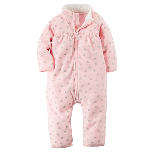 Carters Baby Girls Zip-Up Glitter Print Jumpsuit Pink Hearts 9M