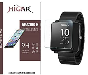 Higar Amazing H 2.5D Arc Edge 9H Anti Explosion Tempered Glass Scratch Screen Guard Protector for Sony SW2 Digital Unisex Watch [PACK OF 2]