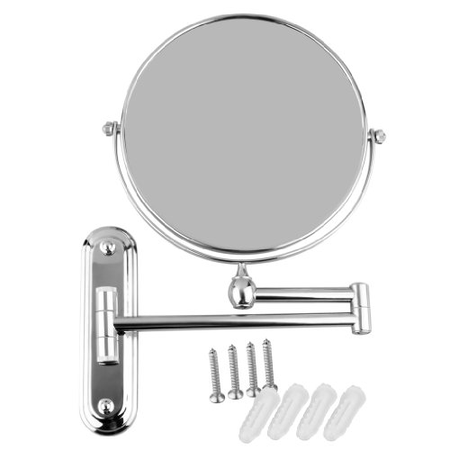 Chrome Wall Mounted 8-Inch Two-Side 360-Degree Swivel Mirror With 5X Magnification, 12-Inch Extension For Make-Up Shaving