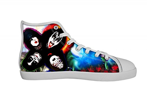 Rock Band KISS Women's Canvas Shoes Women White High Top Canvas Shoes-6M US