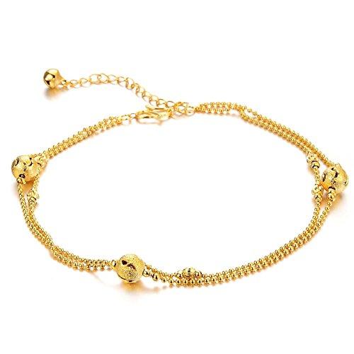Jewelry 18k Gold Plated 3 Balls Bead Chain Women
