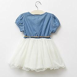 Hotportgift Girls Baby Kids Lace Belt tutu Denim Tulle Full Dress Princess Dress