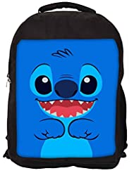 Snoogg Cute Blue Inface Backpack Rucksack School Travel Unisex Casual Canvas Bag Bookbag Satchel