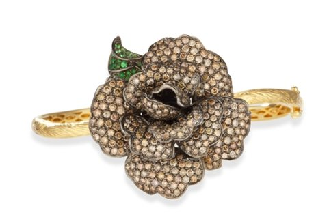 18k Gold Champagne Diamond Flower Bangle