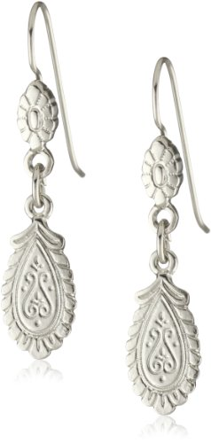 1928 Jewelry Silver Flower Petal Drop Earrings