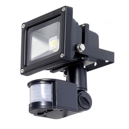 Torchstar 10W White 7000K Pir Sensor Led Flood Light Security Light 180° Motion Sensor Up To 12M Detection Range