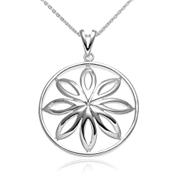 Sterling Silver Open Circle Flower Pendant