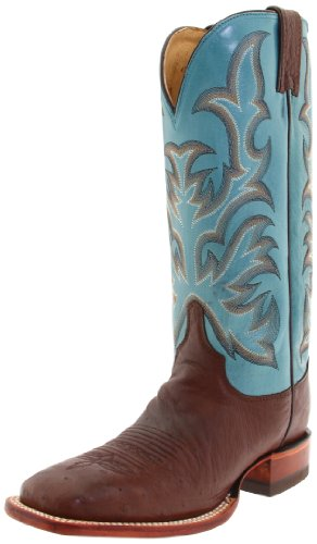 Justin Boots Women's Aqha Lifestyle Collection 13″ Remuda Series Boot Wide Square Double Stitch Toe Leather Outsole,Antique Brown Smooth Ostrich/Turquoise Crunch Goat,5.5 B US