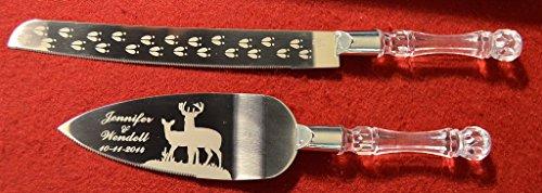 Deer Couple Buck & Doe Engraved Wedding Cake Knife / Server Set Names And Date Free !