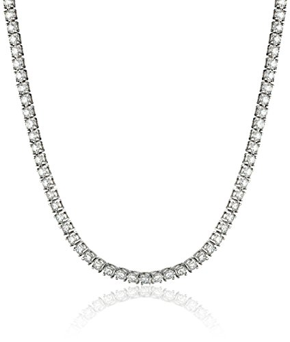 18K White Gold Diamond Tennis Necklace (9.00 Cttw, H-I Color, Si2-I1 Clarity), 17""