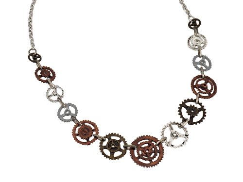 Steampunk-Two-Tone-Clock-Gear-Necklace-18-Inch