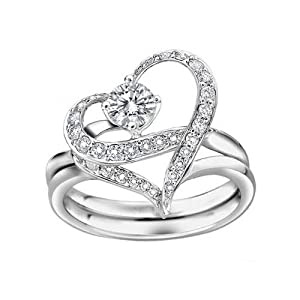 Couples Heart Shape with Cubic Zirconia Wedding Band Single-minded Love Separable Promise Ring (8.5)