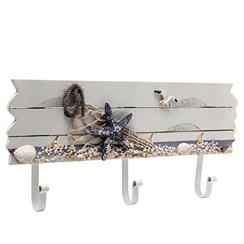 Starfish, Seagull & Seashells Wood Hooks