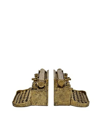 Three Hands Typewriter Bookends, Gold