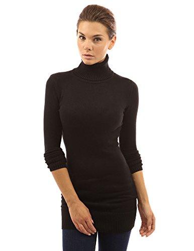 PattyBoutik Women's Turtleneck Long Sleeve Sweater (Black L)