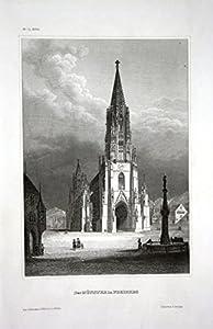 Der Münster in Freiburg - Freiburger Münster Freiburg Minster Stahlstich engraving