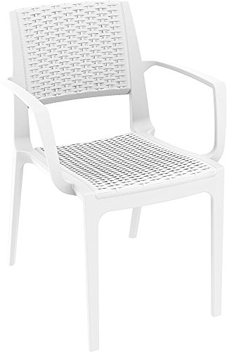 Clear Chair Store 820W Capri Resin Wicker Look Stacking Patio Arm Chair (Set of 4), White (Resin Outdoor Stacking Chairs compare prices)