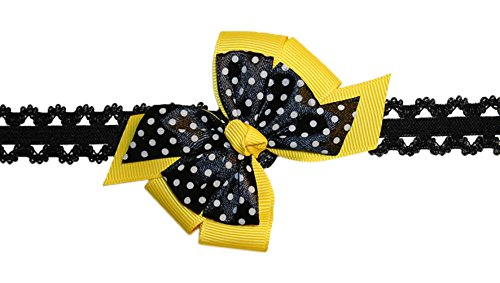 Webb Direct 2U Baby-Girls Infant Yellow Black Dotted Bow Stretch Headband (5089) front-585175