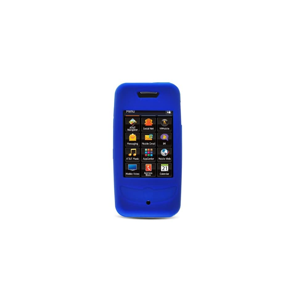 Blue Soft Silicone Skin Gel Cover Case for Samsung Flight 2 Flight2 A927 + Lcd Screen Guard + Car Charger + Microfiber Pouch Bag