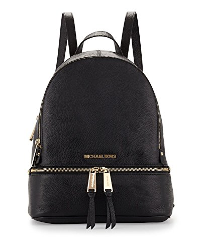 MICHAEL Michael Kors Rhea Small Leather Backpack in Black Gold