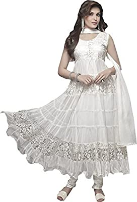 Divyaemporio Women'S White Faux Georgette Brasso Salwar Suits Dress Material by NM