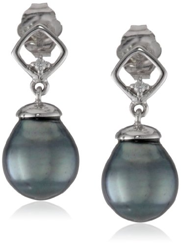 10k White Gold, Black Tahitian Cultured Pearl (8-8.5mm), and Diamond Accent Earrings