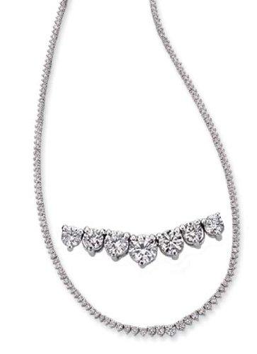 14k White Three Prong 8.2 Ct Diamond Necklace
