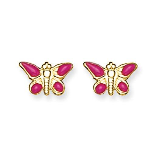 14k Epoxy Fill Pink Butterfly Earrings