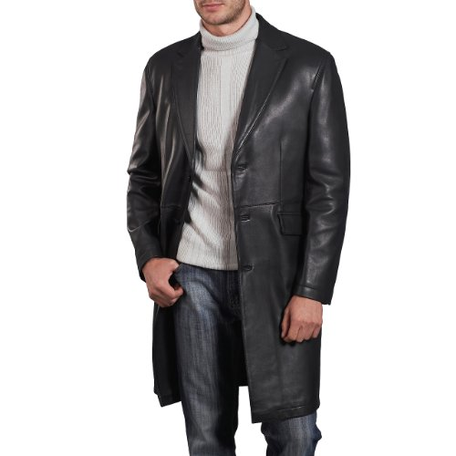 BGSD Men's New Zealand Lambskin Leather Long Coat - Black XX-Large