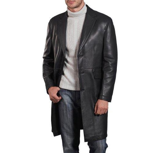 BGSD Men's New Zealand Lambskin Leather Long Coat - Black Large