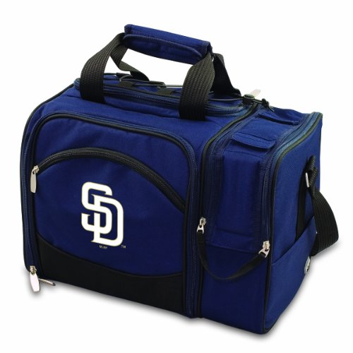 Mlb San Diego Padres Malibu Insulated Shoulder Pack With Deluxe Picnic Service For Two