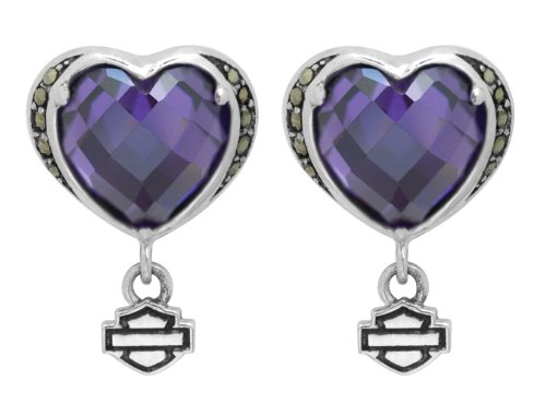 Harley-Davidson .925 Silver Purple Stone Heart With Marcasite Post Earrings