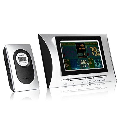 UVISTAR-Funkwetterstation-mit-Auensensor-443MHZ-LCD-Groes-Farbdisplay-Professionelles-Digital-Hygrometer-Humidor-luftfeuchtigkeit-Anzeigen-Innen-Auen-zum-Aufhngen-fr-Zuhause-Uhrzeitanzeige-Innen-und-A