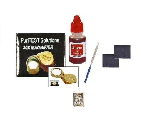 Jeweler'S Professional Silver Testing Kit With Accessories And Free Sample 5Gr Silver Bar front-623345