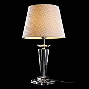 Morden European Crystal Bedroom Bedside Table Lamps Art Beige Fabrics Lampshade
