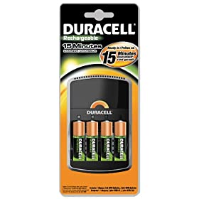 Duracell CEF15DX4 Rechargeable NiMH 15 Minute Battery Charger with 4 Pre-Charged AA Cells, 198mm Width x 190mm Height x 45mm Depth (Case of 4)