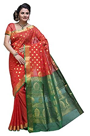 ISHIN Cotton Orange Saree available at Amazon for Rs.4149