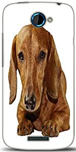 Snoogg Dachshund Staring Portrait Designer Protective Back Case Cover For HTC One S