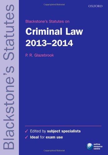 Blackstone's Statutes on Criminal Law 2013-2014