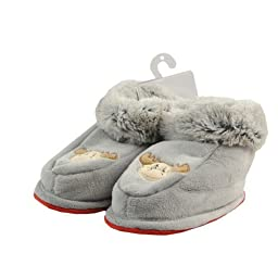 Ola Nesje Grey Toddler Slippers with a Moose 46107