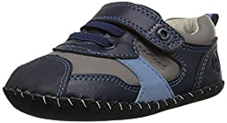 pediped Originals Franklin Casual Sneaker (Infant), Navy/Grey, Small (6-12 Months)