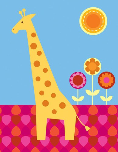 Oopsy daisy, Fine Art for Kids Floral Giraffe Stretched Canvas Art by Clare Birtwistle, 14 by 18-Inch