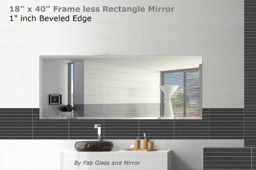 Fab Glass and Mirror Rectangle Beveled Polish Frameless Wall Mirror with Hooks, 18